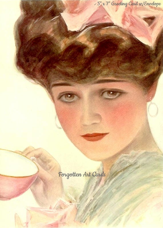"""Harrison Fisher Teacup Lady 5""""x 7"""" Greeting Card + Envelope Forgotten Art Card Pretty Girl Postcards"""