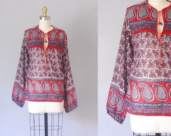 Arcata cotton tunic | 70s india gauze blouse | 70s bohemian top