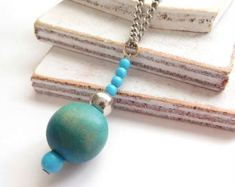 Retro Boho Layered Blue Wood Bead Pendant Silver Tone Chain Necklace D12
