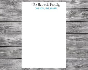 Personalized Notepad-Family Name- Simple- 4x6