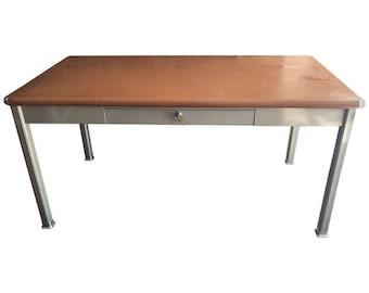 Midcentury Tanker Desk with Linoleum Top and Steel Corner Bumpers