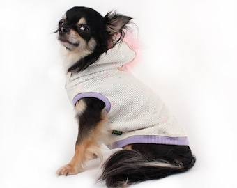 Dog clothes Pink Mohawk dog Hoodie in ivory with hearts lightweight Sleeveless dog Hoodie