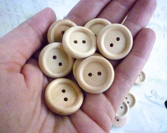 Round Wooden Buttons - 7/8 Inch - Pack of 10