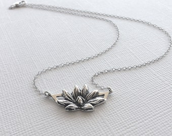 Lotus Flower Necklace in Sterling Silver, Lotus Jewelry, Yoga Jewelry