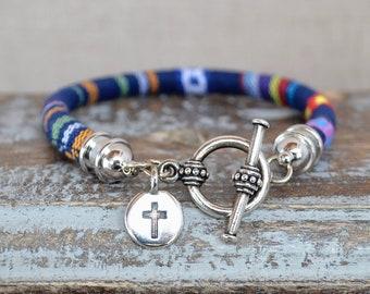 Cross Charn single wrap Boho Bracelet