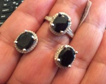 925 silver sapphire  earrings