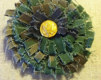 US Army Shabby Chic Vintage Fabric Flower