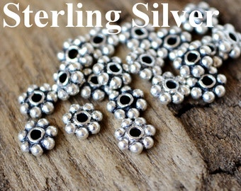 10pc Sterling Silver 4x1mm Daisy Spacer Beads Solid .925 Sterling