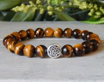 Celtic Knot, Mens Bracelet, Celtic Knot Bracelet, Celtic Bracelet, Tiger Eye Bracelet, Irish Jewelry, Mens Jewelry, Celtic Knot Jewelry,