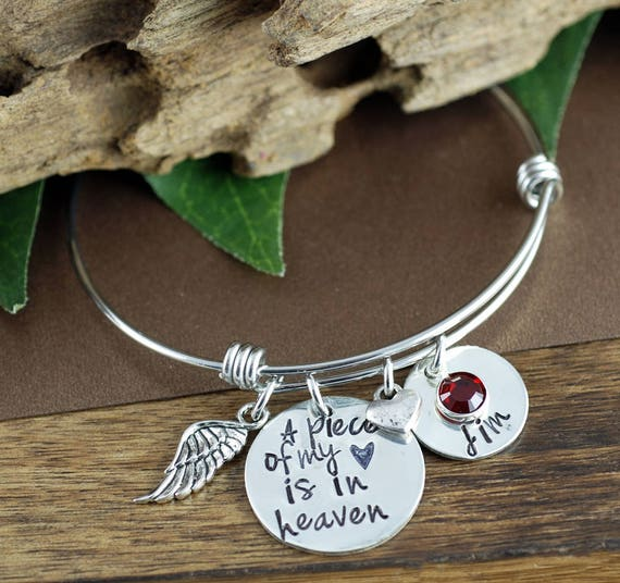 A Piece of my Heart is in Heaven, Personalized Charm Bracelet, Memorial Miscarriage Bracelet, Remembrance Bracelet, Loss of Child
