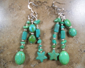 Green Turquoise color earrings in 3 strands with silver spacers - ME132