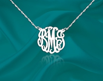 Monogram necklace - .5 inch . 925 Sterling silver Handcrafted Designer Personalized Monogram Necklace - Made in USA