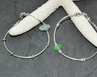 Sea Glass Bangle, Sterling Bracelet, Sea Glass Bracelet, Sea Glass Jewelry, Mermaid Bracelet, Beach Jewelry, Gift For Mom