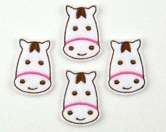 HORSE - Embroidered Felt Embellishments / Appliques - White  (Qnty of 4) SCF6125