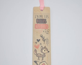 Bookmark wooden - deer pink