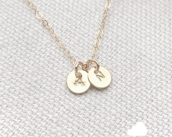 """NEW - Two Tiny Customized Initial 1/4"""" Disc Necklace in gold - Little Dainty Disc Charms - Personalized - Bridal Gift - thelovelyraindrop"""