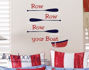Nautical Wall Decal - Row your boat wall decal set - Sailing wall decal - sailboat wall decal - nursery wall decal