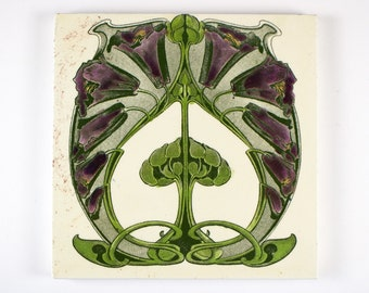 Antique 1900s Marsden Art Nouveau transfer printed and hand tinted pottery tile