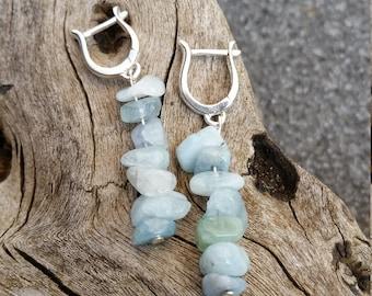 sterling silver earrings with aquamarine split length 45 mm