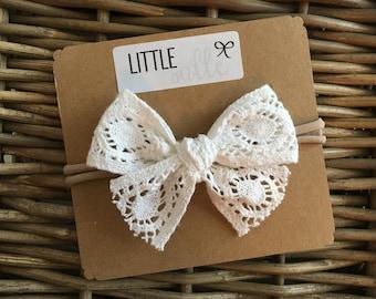 White Large Lace Bow Headband