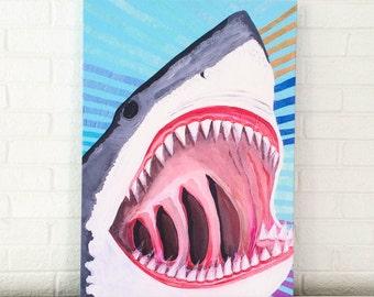 Great White Shark Giclee Canvas Art Print Beach Decor Shark Kids Room Beach Baby Nursery Beach House Mangoseed Beach Art by Christina Rowe