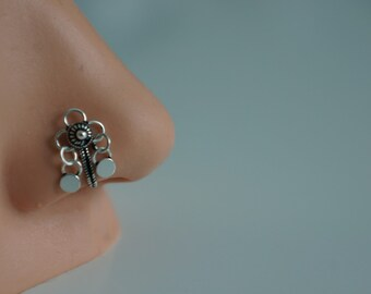 Nose Ring-Non Pierced Dangle Nose Ring- 925 Silver- Indian Nose Ring - Ethnic - Traditional Jewelery