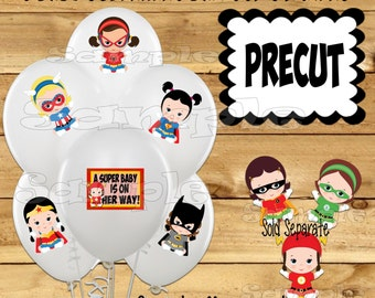 Baby Girl Superhero Balloon Stickers Super baby Party favors cup stickers Tablecloth stickers Superhero Birthday stickers Precut Custom