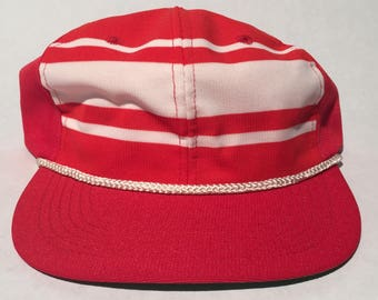 Vintage Red and White Striped Snapback Hat