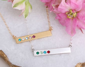 Personalized Bar Necklace with Birthstones, Sterling Silver, or Gold Birthstone Bar Necklace Stamped with Blessed. Custom Gift for Mom!