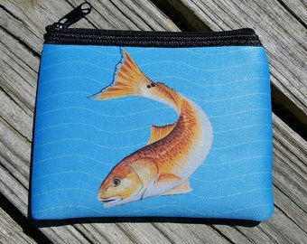 Red Drum on bright blue Coin Purse zippered pouch neoprene
