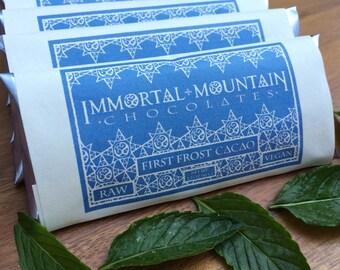First Frost Vegan Cacao: 4 Mint Dark Chocolate Bars w/ peppermint, maple sugar, vanilla