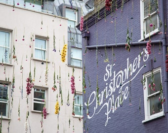 St. Christopher's Place Photograph - London Photography - Rebecca Louise Law Installation - Spring Flowers