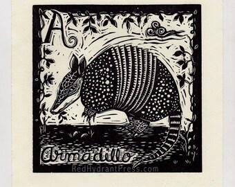 Armadillo spanish alphabet linocut print