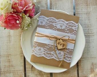 Rustic Wedding Invitation Suite, Rustic Wedding, Printed Invitation, Lace Wedding Invitation, Rustic Invitation, Elegant Assembled, Peach