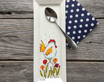 Small tray, rectangle small tray, Hen, flowers, spoon rests, hand painted