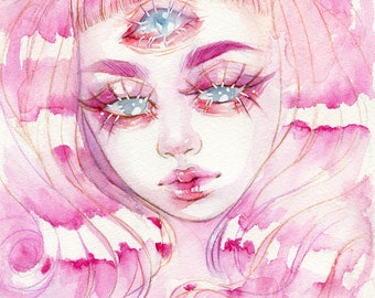 Pink 3 Eyed Girl - 5x7'in / 13x18cm Print
