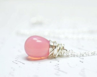 Pink Opal Teardrop Necklace, Simple Wire Wrap Briolette Jewelry, Pastel Pink Glass Pendant, Minimal Necklace