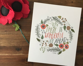 There Is Wonderful Joy Ahead (Red) Print - 1 Peter 1:6 - Perfect for holiday decor