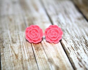Pink Flower Earrings, Stud Earrings