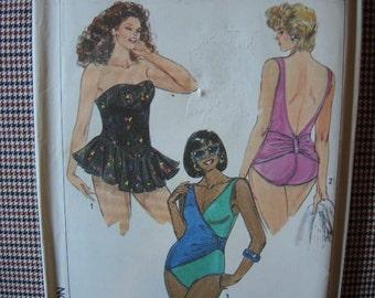 vintage 1980s Simplicity sewing pattern 9212 UNCUT bathing suit plus size 18W-24W