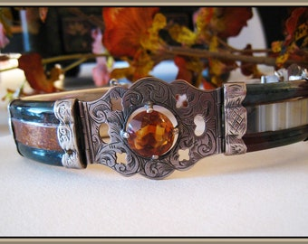 Victorian Scottish Agate Pebble Bracelet - Engraved Sterling - Agates - Cairngorm - Circa 1890 - Antique - FREE SHIPPING