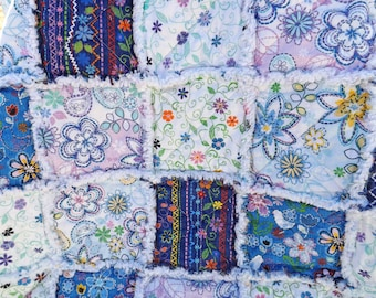 Twin Rag Quilt - Blue and White - Girl's Bedroom - Floral Quilt - Girl's Twin Quilt - Handmade