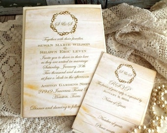 Vintage Wedding Invitation with Elegant Wreath and Aged Background Handmade by avintageobsession on etsy