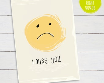 Find the right words...I MISS YOU... Illustrated Linocut Greetings Card