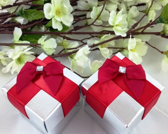 25 Red Silver Favor Box, Wedding, Bridal Shower, Gift Box, Candy Holder