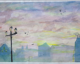 Dusk and the Haverigg Lamp post- A5 Art Print