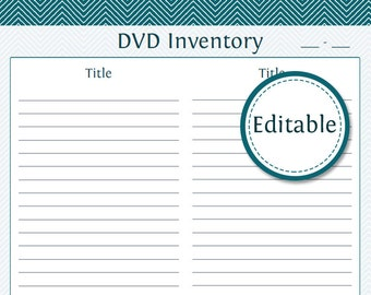 DVD Inventory (also included is the Lent Items Printable) - Fillable - Printable PDF - Instant Download