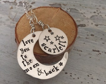 Sterling moon necklace-personalized hand stamped necklace -gift idea for mom-necklace with childs name-love you to the moon and back