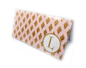 Personalized Checkbook cover - Pink and Gold Diamond print  - modern simple pastel, geometric glam - customize with an initial or monogram
