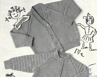 "Hermit 110 Vintage Knitting Pattern Original Child Cardigans 18"" 20"" 22"""